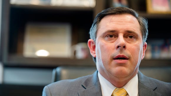 Spencer Collier, former Alabama Director of Homeland Security, holds a press conference about his termination from his position on Wednesday, March 23, 2016, in Montgomery, Ala.