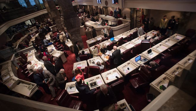 Alabama House of Representatives gather during the legislative special session on Tuesday, August 23, 2016, at the State House in Montgomery, Ala.