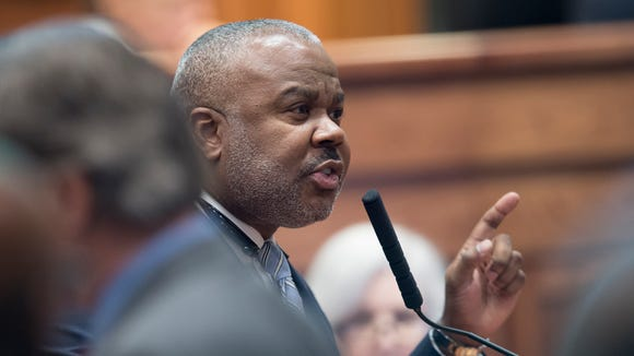 Quinton Ross, D-Montgomery, speaks during discussion of the Lottery Bill at the legislative special session on Thursday, August 26, 2016, at the State House in Montgomery, Ala.