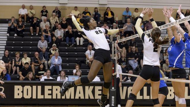 Purdue volleyball Danielle Cuttino (20) played at Ben Davis High School.