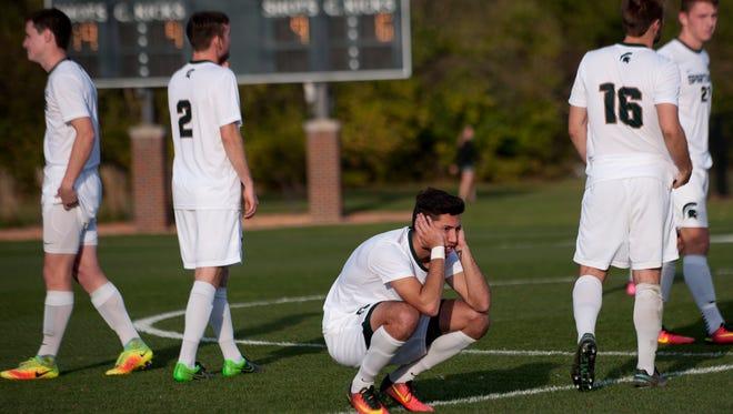 Sophomore forward Hunter Barone reacts to the loss on Thursday after round one of the NCAA tournament against Southern Illinois University Edwardsville at DeMartin Stadium at Old College Field at Michigan State University. Michigan State lost in penalty kicks, 9-8, after two overtimes.