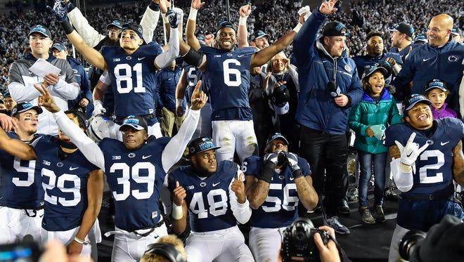 Penn State celebrates after defeating Michigan State 45-12 on Saturday, Nov. 26, 2016, at Beaver Stadium. Penn State won the Big 10 East championship.