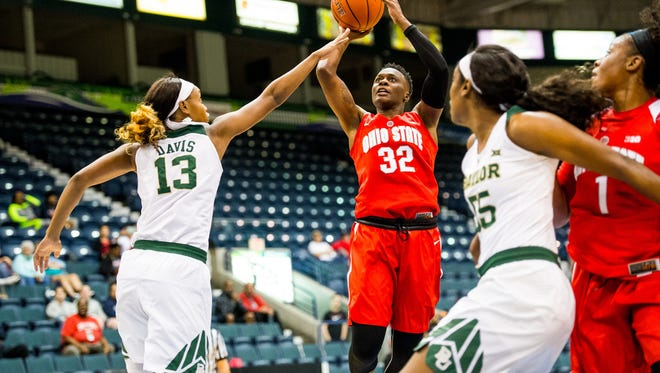 Ohio State University's Shayla Cooper puts a shot up during the basketball championship of the against Baylor University in the Gulf Coast Showcase at Germain Areana in Estero, Fla., on Sunday, Nov. 27, 2016.