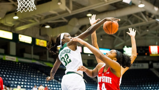 Ohio State University's Sierra Calhoun gets blocked by Baylor's Beatrice Mompremier during the basketball championship of the against Baylor University in the Gulf Coast Showcase at Germain Areana in Estero, Fla., on Sunday, Nov. 27, 2016.
