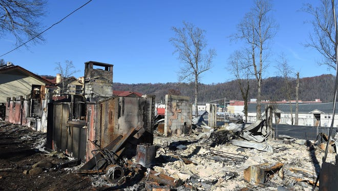 Dec 2, 2016; Gaitlinburg, TN, USA; Property damage inside the city of Gatlinburg after wildfires in Pigeon Forge and Gatlinburg. Mandatory credit: Amy Smotherman Burgess/Knoxville News Sentinel via USA TODAY NETWORK