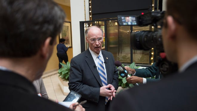 Governor Robert Bentley speaks to the media at the annual Alabama Sheriff's conference in Montgomery, Ala., on Monday, Jan. 23, 2017.