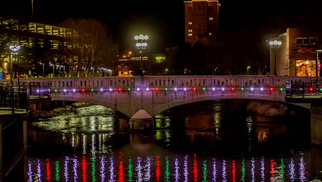 Downtown Battle Creek glows during the International Festival of Light in 2015.