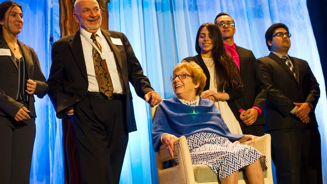Jack and Joan Toren are recognized as the 2017 Mentors of the Year during the Night of Champions event at the Naples Grande in Naples, Fla., on Thursday, Feb. 2, 2017.