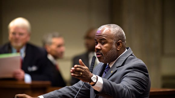 Alabama Senator Quinton Ross, D-Montgomery, speaks during the Alabama Senate legislative session on Tuesday, Feb. 7, 2017, at the Senate chambers in Montgomery, Ala.