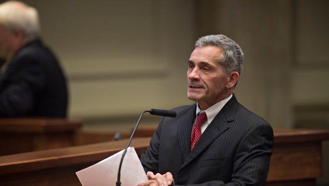 Senator Del Marsh, R-Calhoun, speaks during the Alabama Senate legislative session on Tuesday, Feb. 7, 2017, at the Senate chambers in Montgomery, Ala.