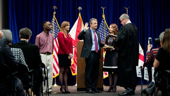 Steve Marshall takes the oath of office becoming the