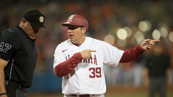 Alabama's Greg Goff (39) speaks to an umpire during the Capitol City Classic between Auburn and Alabama on Tuesday, March 28, 2017, in Montgomery, Ala.