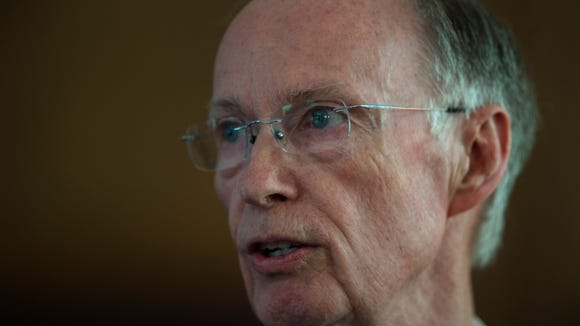 Former Governor Robert Bentley speaks after officially resigning on Monday, April 10, 2017, in Montgomery, Ala.