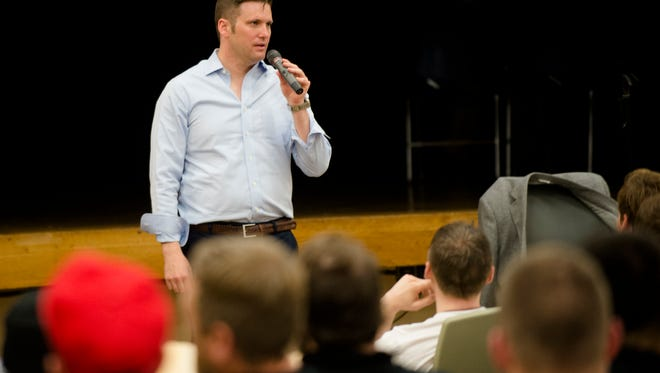 Richard Spencer speaks on Auburn Campus at Auburn University on Tuesday, April 18, 2017, in Auburn, Ala. A man who rented Foy Hall for Richard Spencer and was denied filed a Federal Law Suit and was granted an injunction by a Federal Judge to allow Richard Spencer to speak.