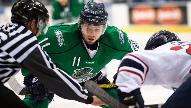 Florida Everblades forward Michael Kirkpatrick waits for a puck to drop at a face off during Game 2 of South Division Finals in the Kelly Cup Playoffs at Germain Arena in Fort Myers, Fla., on Saturday, April 29, 2017.