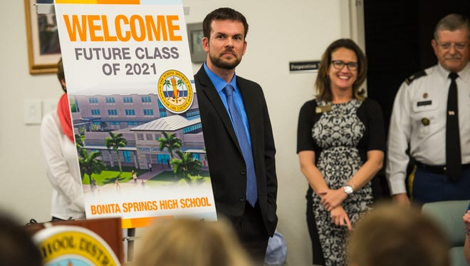 Jeff Estes, the new Bonita Springs High School principal, listens to other speakers during a parent information night on the new Bonita Springs High School on Tuesday, Feb. 7