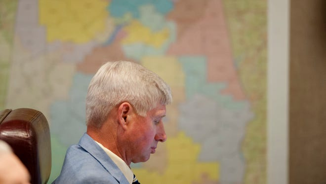 Rep. Alan Baker looks on after the Senate redistricting bill is passed in the House Chambers at the Alabama State House building in Montgomery, Ala., on Thursday, May 18, 2017.