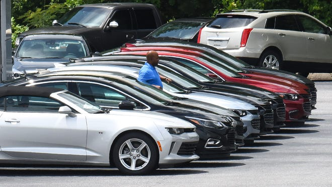 A line of new cars at Richard Kay Chevrolet superstore in Anderson on Monday.