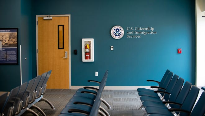 The waiting room at the recently opened U.S. Citizenship and Immigration Services field office in Montgomery, Ala., on Tuesday, June 13, 2017.
