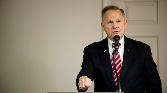 Roy Moore speaks during the River Region Republicans luncheon gathering on Tuesday, June 27, 2017, in Montgomery, Ala.