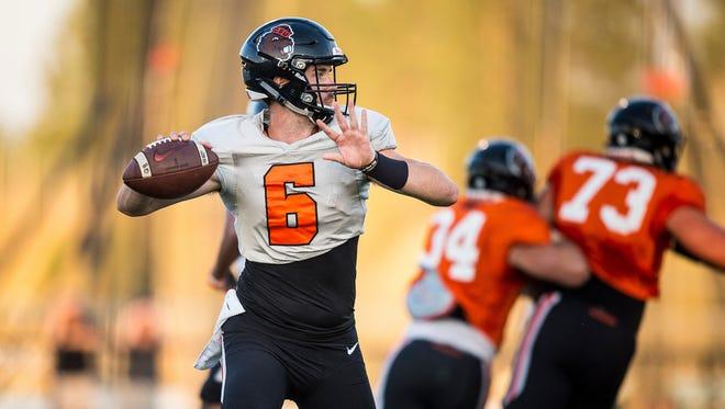 Jake Luton was named Oregon State's starting quarterback during the first week of preseason practice.
