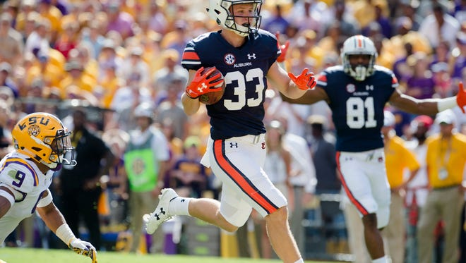 Auburn wide receiver Will Hastings (33) scores a touchdown  during the NCAA football game between Auburn and LSU on Saturday, Oct. 14, 2017, at Tiger Stadium in Baton Rouge, La.