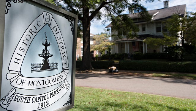 A sign denoting part of the Historic area inside Capitol Heights district of Montgomery, Ala., on Monday, Oct. 16, 2017.