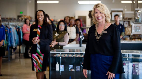 Summer Taylor, Goodwill Retail Sales vice president, speaks during the opening of the Goodwill at 2601 East Blvd. in Montgomery, Ala., on Wednesday, Nov. 1, 2017.