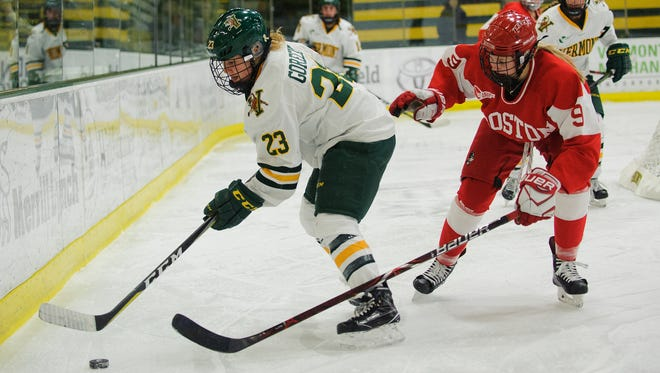 Forward Alyssa Gorecki (23), seen in this action shot earlier this season, scored UVM's lone goal in a 3-1 loss to Boston College in the opening game of their Hockey East quarterfinal series.