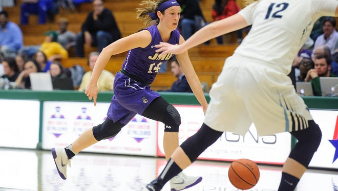 Vermont native Hailee Barron, a guard for James Madison, plays during the women's basketball game between the James Madison Dukes and the Villanova Wildcats in the second game of the TD Bank Classic at Patrick Gym on Friday.