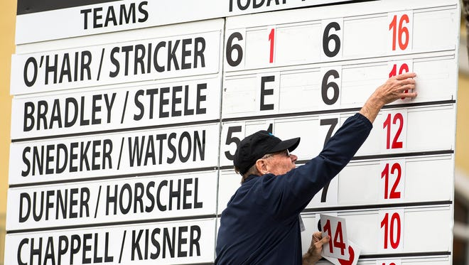 The total score is changed at a scoreboard by the 18th hole during the second round of the QBE Shootout at Tiburón Gulf Club in Naples on Saturday.