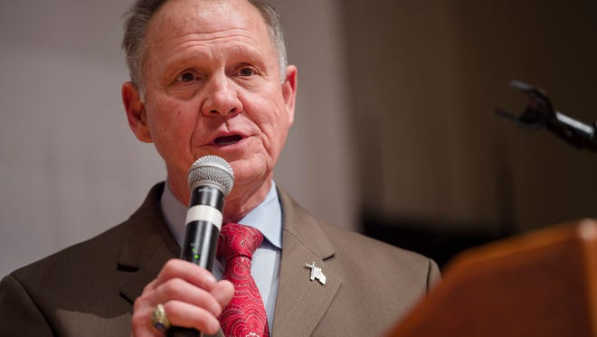 Roy Moore announces that he will be pursuing a recount of election results that have Doug Jones winning the Alabama Senate race during the Roy Moore Election Night Party on Tuesday, Dec. 12, 2017, in Montgomery, Ala.