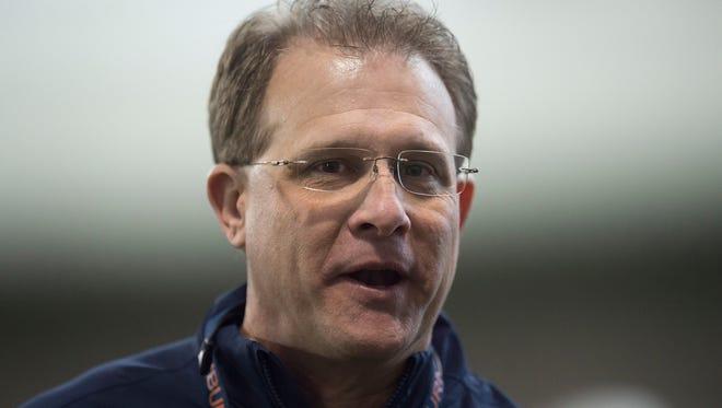 Auburn head coach Gus Malzahn looks on during Auburn's final full practice for the Peach Bowl on Dec. 30, 2107, in Atlanta, Ga.