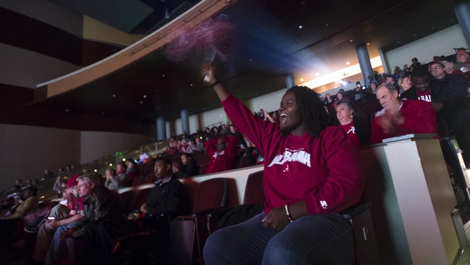 College football fans will fill the Montgomery Performing Arts Centre on Monday for a free showing of Alabama and Georgia in the National Championship Game.