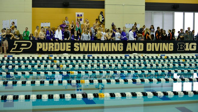 Action from the Hoosier Conference swimming meet held at the Purdue Aquatic Center on 9/20/18