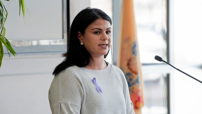 Carly Leonard speaks about her addiction and recovery at Cooper University Hospital on Thursday.