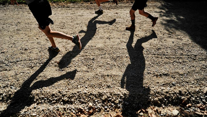 In this file photo, runners climb Reservoir Hill during the cross country meet at Reservoir Park in Spring Garden Township Tuesday, September 8, 2015. Runners from five schools participated in the meet, hosted by West York.