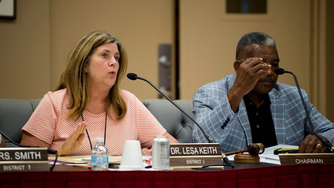 Lesa Keith, Montgomery County Board of Education vice president, calls for an executive session during the Montgomery County School Board Meeting to interview Chief Financial Officers on Wednesday, May 9, 2018, in Montgomery, Ala.