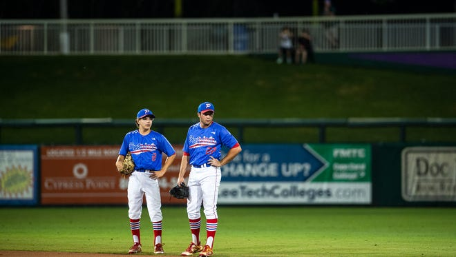 Pace High School Patriot baseball team members during the 2018 FHSAA Class 7A Championship Game against Venice High School in Fort Myers, Fla., on Thursday, May 31, 2018.