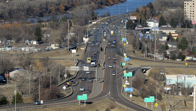 The Fox Farm intersection and I-15 Exit 0 in Great Falls seen here at 5pm on a Wednesday afternoon.