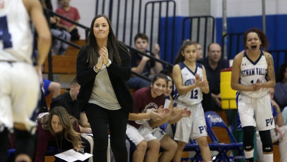 Putnam Valley coach Kristi Dini will make her first County Center appearance as a coach, after her team defeated Edgemont 58-19 in girls playoff action at Putnam Valley High School Feb. 21, 2018.