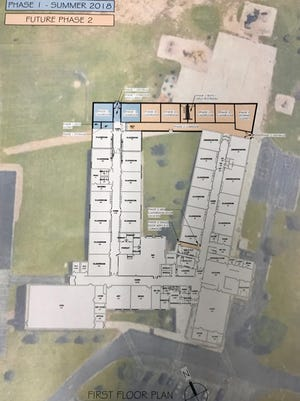 A drawing shows where additional classrooms could go at Oriole Lane Elementary School if the Mequon-Thiensville School District decides to go in that direction.