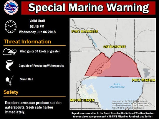 Marine warning issued 3:06 p.m. June 6, 2018.