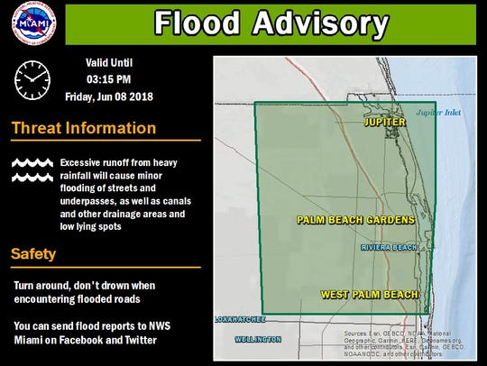 Flood advisory for north Palm Beach County June 8,