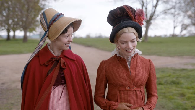 Harriett (Mia Goth, left) hangs on to every word said by Emma (Anya Taylor-Joy).