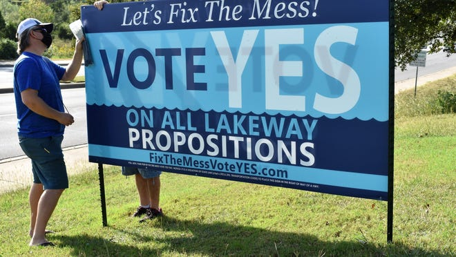 Lakeway resident Jason Migliuri puts up a sign for the political action committee 'Fix This Mess' on Monday. The group asks voters to approve the seven city charter amendments on the Nov. 3 ballot.
