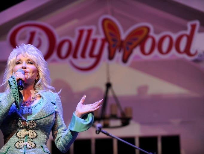 Dolly Parton speaks during a news conference to annouce