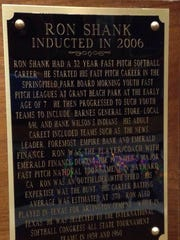 Ron Shank was inducted into the Springfield Softball