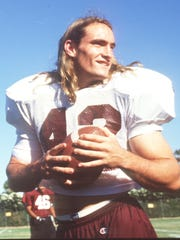 Pat Tillman, age 19, at an ASU football practice in