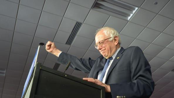 Sen. Bernie Sanders,I-Vt., acknowledges supporters